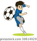 เด็กชายฟุตบอลถ่ายภาพด้วยฟุตบอลที่สามารถใช้ในแคตตาล็อกและแผ่นพับ 30614029