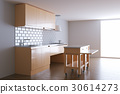 3d render beige kitchen in white interior 30614273