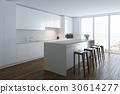 3d render white luxury  kitchen in white room 30614277