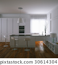 3d render contemporary white kitchen and wooden 30614304
