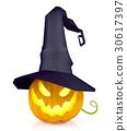 Halloween pumpkin wearing witch hat 30617397