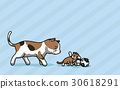 Vector illustration Cat and two Kitty are playing 30618291