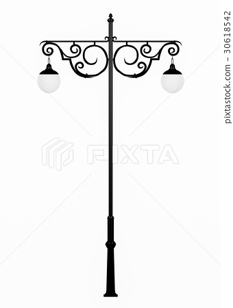 Vintage street lamp isolated on white background 30618542