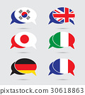 Speech bubble set with flag in vector format 30618863