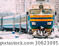 Old Diesel locomotive on Railway In Cold Snowy 30623095