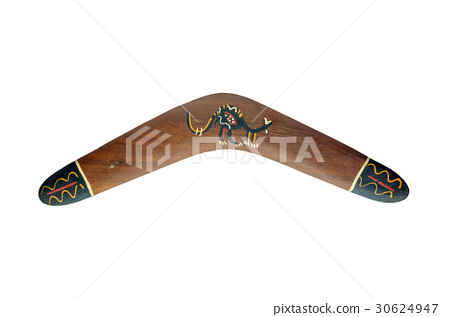 Painted wood boomerang isolated on white 30624947