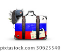 Russia, vintage suitcase with Russian flag 30625540