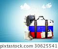Russia, vintage suitcase with Russian flag 30625541