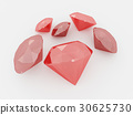 Render of a cluster of rubies on white background 30625730