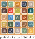 Beauty line flat icons on orange background 30628417
