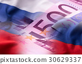 Flags of the Russia and euro banknotes. 30629337