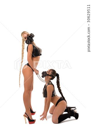 Sexy girls in bdsm masks and leather underwear 30629511
