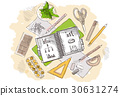 Drawn image of work table with objects 30631274