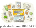 Drawn image of work table with objects 30632433
