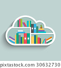 Bookshelf in form of cloud with colorful books. 30632730