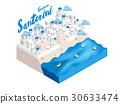 isometric style design concept of Santorini island 30633474