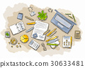 Drawn image of work table with objects 30633481