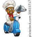 Cartoon Black Chef on Moped Scooter 30633717