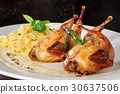 Roasted or fried quail with herbs and tagliatelle 30637506