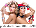 Beautiful girls with many ribbon accessories 30637699
