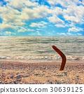 Australian Boomerang on tropical beach against sea 30639125
