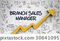 Branch Sales Manager Drawn on White Brickwall.  30641095