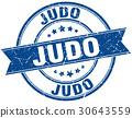 judo round grunge ribbon stamp 30643559