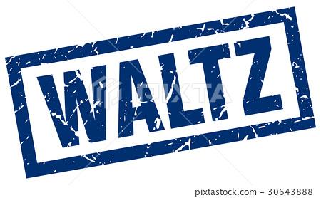 square grunge blue waltz stamp 30643888