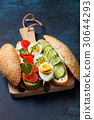 sandwich with vegetables, egg 30644293