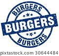 burgers blue round grunge stamp 30644484