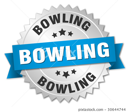 bowling round isolated silver badge 30644744