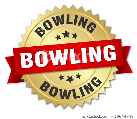 bowling round isolated gold badge 30644745