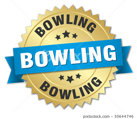 bowling round isolated gold badge 30644746
