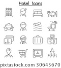 Hotel icon set in thin line style 30645670
