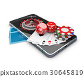 phone with Roulette, Play card, Dice and Chips 30645819