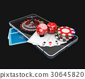 phone with Roulette, play card, dice and chips 30645820