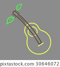 Outline vector pear guitar icon 30646072