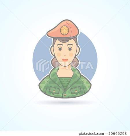 Army soldier woman, servicewoman icon 30646298