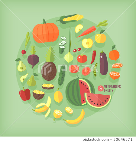 Fruits and vegetables flat icons collection set 30646371