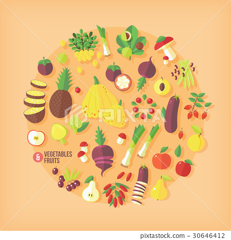 Fruits and vegetables vector icons collection 30646412