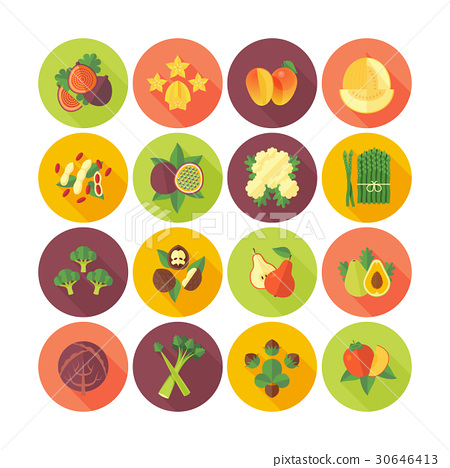 Set of flat design icons for fruits and vegetables 30646413
