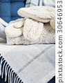 mittens, knit, white 30646953