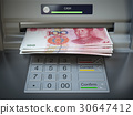 ATM machine and money. Withdrawing yuan banknotes. 30647412