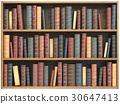 Vintage books on bookshelf isolated on white 30647413