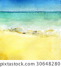 watercolor sketch of sea view from tropical beach  30648280