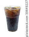 cola drink in plastic glass with ice isolated   30649227