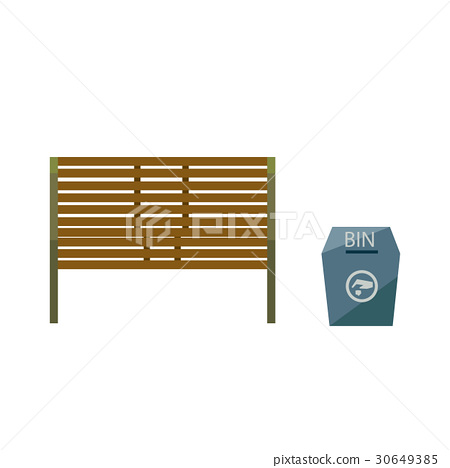 Park and wooden public seats and blue bin  30649385