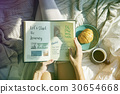 Woman Reading Note Diary On Bed Breakfast Morning 30654668