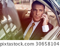 Photo Gradient Style with Businessman Talking Using Phone Car Inside 30658104