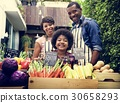 African family at organnic grocery shop 30658293